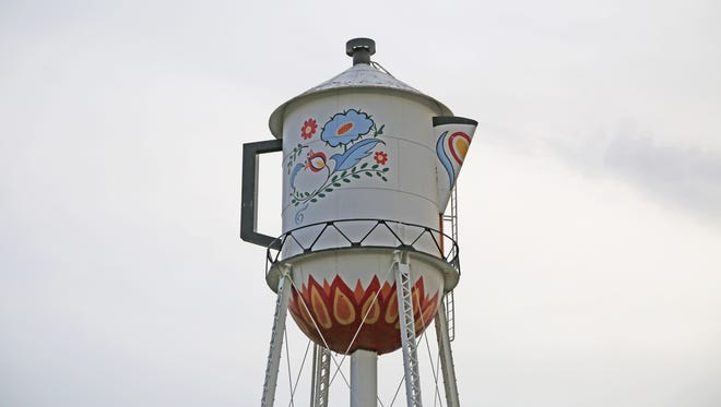 """Stanton's famous coffeepot water tower, 70 years old and decorated since 1970 to honor native daughter Virginia Christine of """"Mrs. Olson"""" Folger's TV commercial fame, no longer can be used to provide water. But the city has resolved to preserve its landmark"""