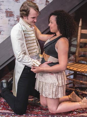 Matthew Comb, left, and Terran Scott play Andrew and Rachel Jackson in the JCC's production of Bloody, Bloody Andrew Jackson.