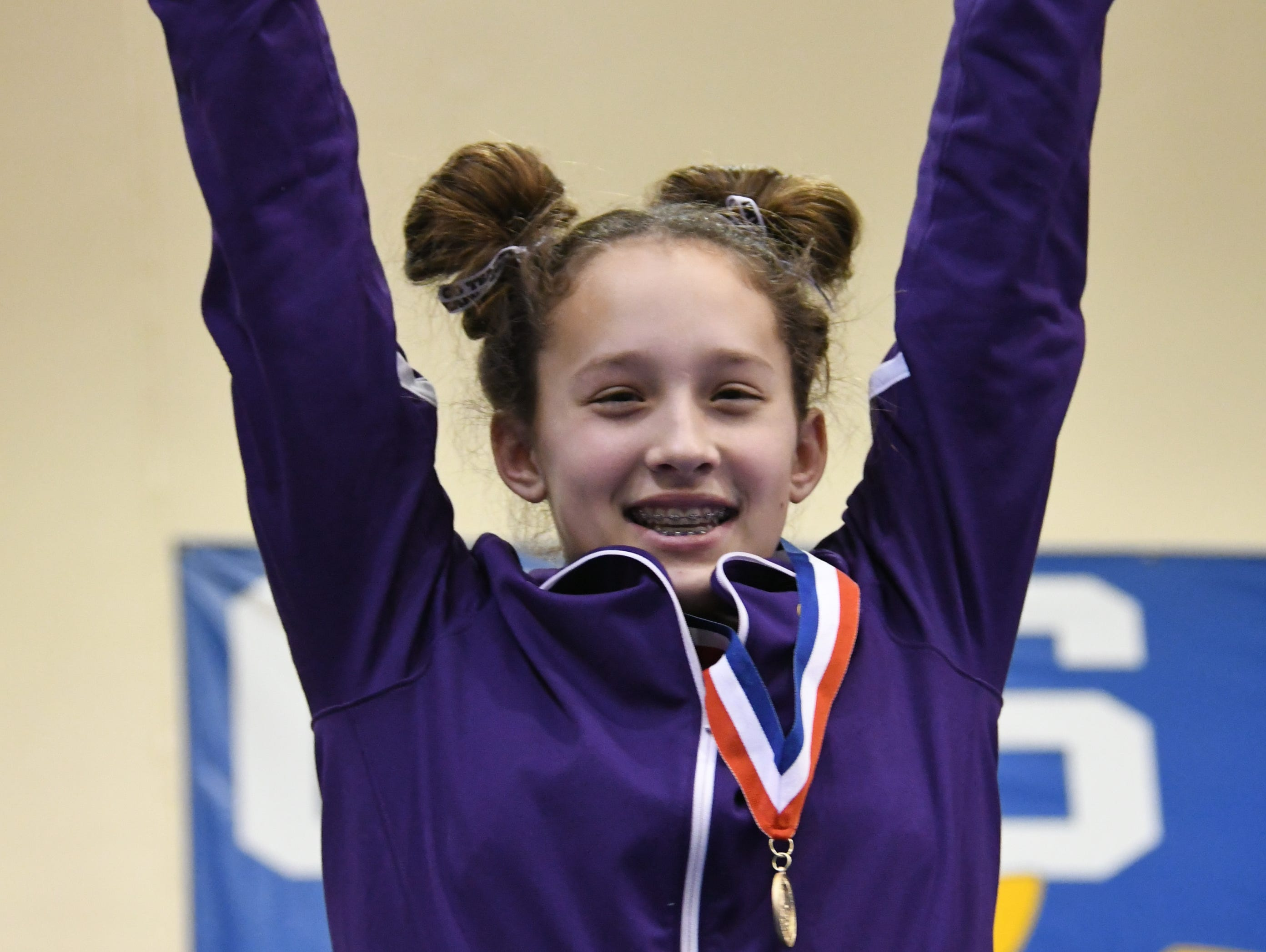 Class AA vault gold medalist Myah Morris of Watertown. Morris scored a 9.725 in the event.