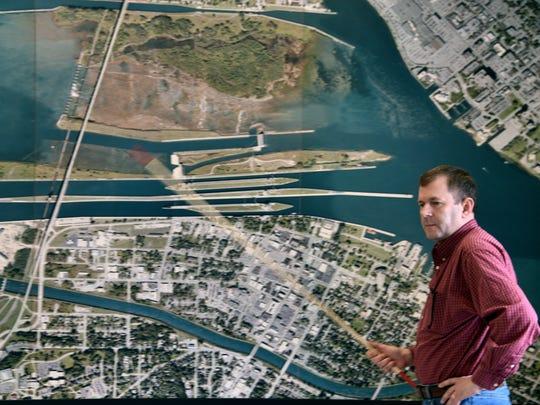 Kevin Sprague, area engineer for the Soo Locks, looks