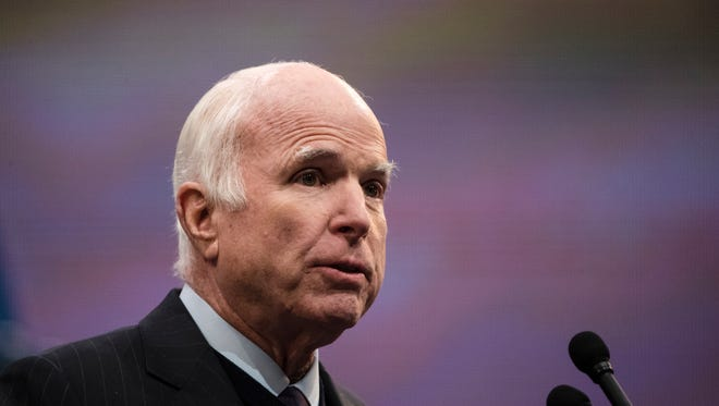 """Oct. 16, 2017: In a speech to accept the National Constitution Center's Liberty Medal, McCain leveled a blistering attack on what he called the """"half-baked, spurious nationalism"""" in the country's foreign policy. The next day, Trump shot back at McCain during a radio show, saying that """"people have to be careful because at some point I fight back."""""""