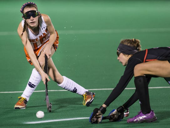 Delmar's Hailey Bitters plays the ball toward the goal in the first half of a state tournament semifinal game.