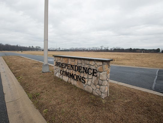 Main entrance to the Independence Commons business park in Milford where there are currently eight parcels for sale.