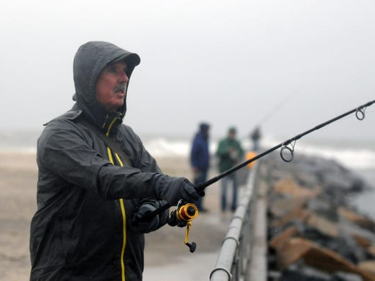 Local fisherman Jack Reilly, of Lewes, casts his line