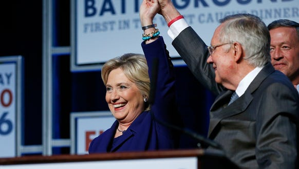 Senate Minority Leader Harry Reid and Hillary Clinton