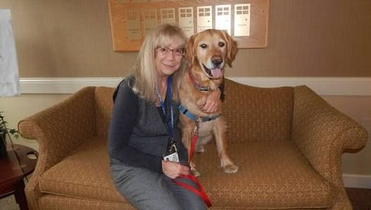 Cindy Massicci and her dog, Keegan O'Malley, at Longview of Ithaca.