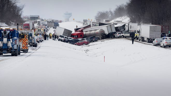 Interstate 78 was closed just west of the 78/22 interchange in Bethel Township on Feb. 13, 2016 after a multiple vehicle accident shut down both east and west lanes.