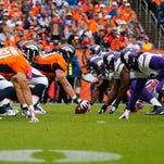The Denver Broncos, left, line up against the Minnesota Vikings during the second half of an NFL football game Sunday, Oct. 4, 2015, in Denver. (AP Photo/Jack Dempsey)