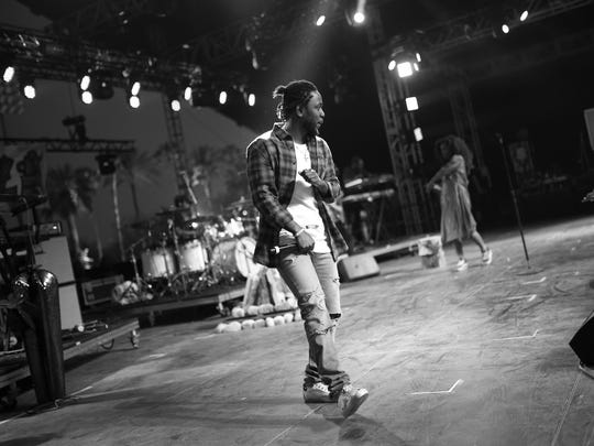 Kendrick Lamar performs onstage with SZA during day 2 of the 2016 Coachella Valley Music & Arts Festival on April 23, 2016 in Indio, CA.