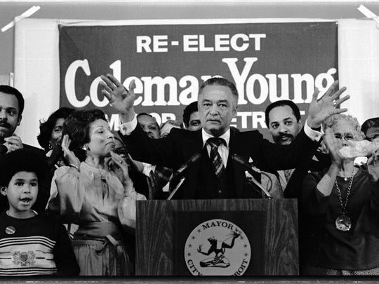 Detroit Mayor Coleman A. Young speaks to supports the night of his first re-election on Nov. 8, 1977.