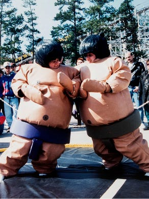 1994: Erin Leigh of Edison and Meredith Gilfor of Philadelpia sumo-wrestle at Great Adventure's Spring Break Out.