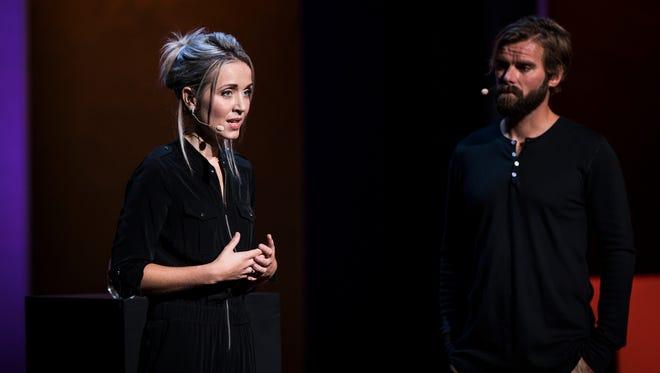 Thordis Elva and Tom Stranger at TEDWomen 2016 in San Francisco.