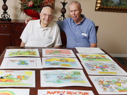 Bob Storms, left, and Frank Haskell have been collaborating on a project involving the cartoon character Palmer the Turtle and together, Haskell and Storms, have been using the character to help children who are battling cancer and also to raise money for Golisano Children's Hospital of Southwest Florida.