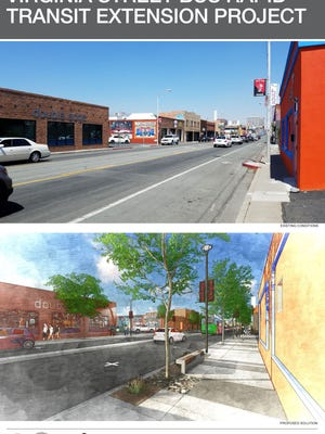 Before and after shot of Virginia Street after the Regional Transportation Commission reconstruction project is completed.