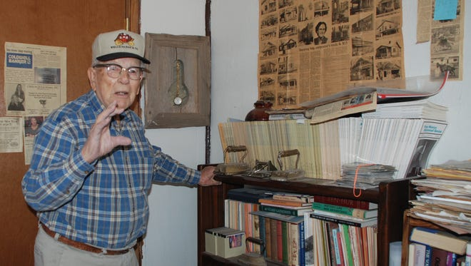 Johnson Stearns (1917-2015) inside his office, answers Carrizozo history questions. He shared his history knowledge with all who inquired about his old hometown.