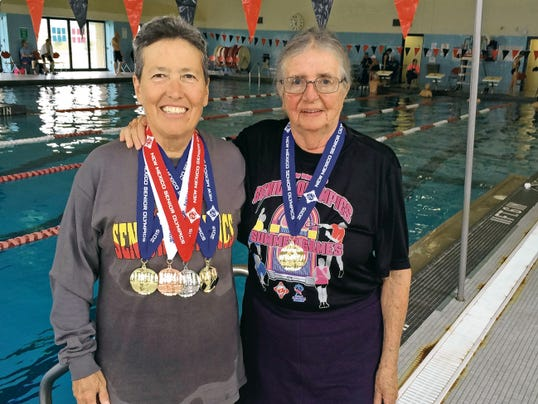 Jordan Wolle Photo   Pamela Gulbrandson, left, and Yenny van Dinter brought home medals from the 2015 Senior Olympic State Games at the New Mexico Military Institute in Roswell.