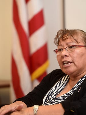 Nancy Ann Toglena Martin talks on Thursday about working with veterans during an interview at the Northern Navajo Veterans Center in Shiprock. The Shiprock woman has been named to the new Navajo Nation Veterans Advisory Council.