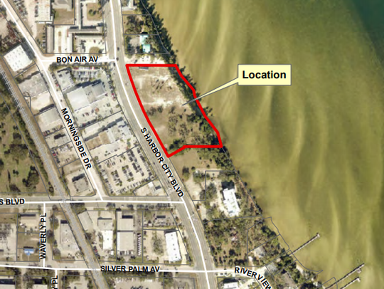 This map depicts the Paramount Riverfront Condominiums site on U.S. 1, just north of Hibiscus Boulevard.
