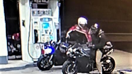 The Massachusetts State Police say one of the motorcyclists in this image dragged a trooper who'd tried speaking to them Tuesday night.