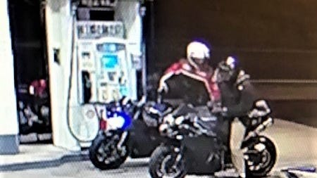State police are looking for this pair of motorcyclists, one of whom allegedly struck a trooper.