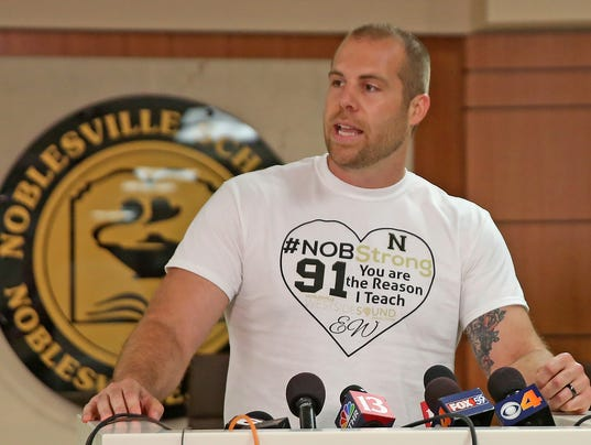 Jason Seaman attends the IHSAA baseball championships, Noblesville vs Hamilton Southeastern game.  He is credited for saving his students lives by stopping the gunman who opened fire into his classroom on Friday, May 25, 2018.
