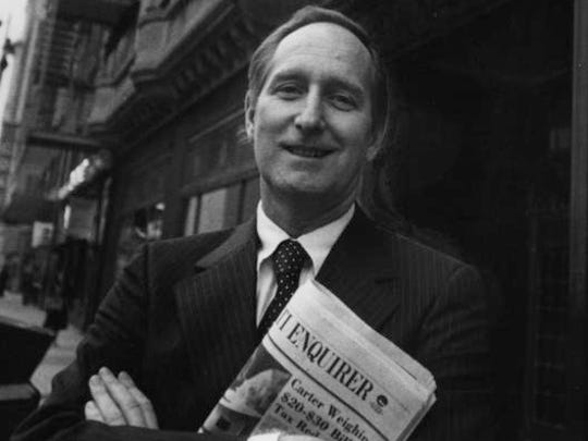 William J. Keating Sr., pictured in the 1970s as Enquirer president, in front of the newspaper's former building at 617 Vine St. in Downtown Cincinnati.