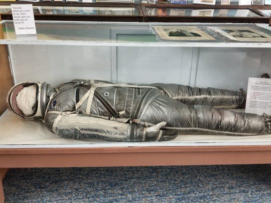 Deke Slayton's astronaut suit is on display at the