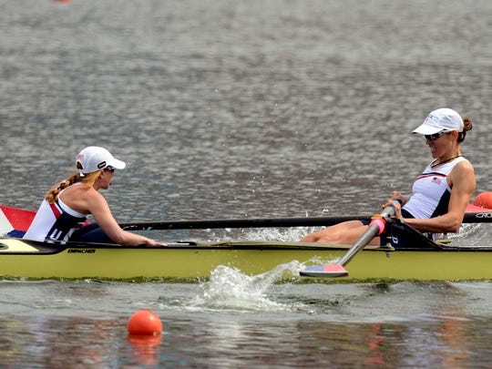 Ithaca's Caryn Davies (right) is pictured in the heats of the women's eight rowing event at the London Olympics on July 29, 2012. Also pictured is U.S. coxswain Mary Whipple.