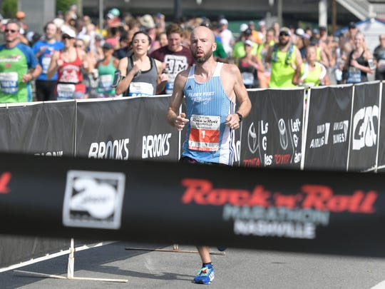 Scott Wietecha wins the 2017 St. Jude Rock 'N' Roll Nashville Marathon on Saturday, April 29, 2017.