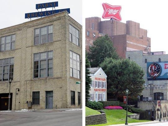Two companies steeped in Milwaukee history, Pabst Brewing (historic plant, left) and MillerCoors (Miller Valley location, right), are embroiled in a legal battle over MillerCoors' commitment to brewing Pabst brands.
