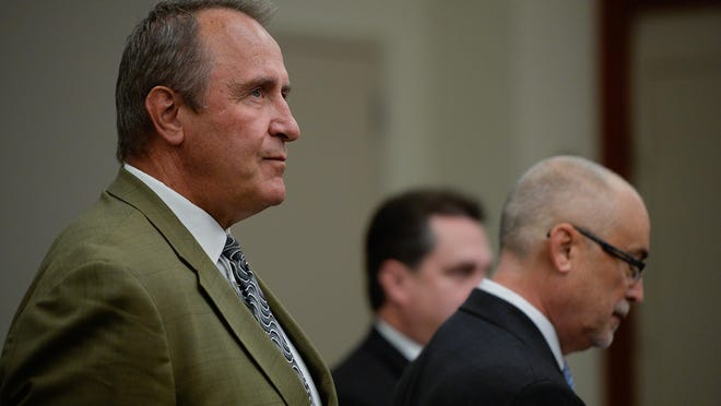 Former Utah Attorney General Mark Shurtleff, facing public corruption charges, appears in Judge Elizabeth Hruby-Mills courtroom in Salt Lake City on Monday.
