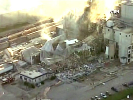 In this image taken from a video by WISN-TV, the rubble