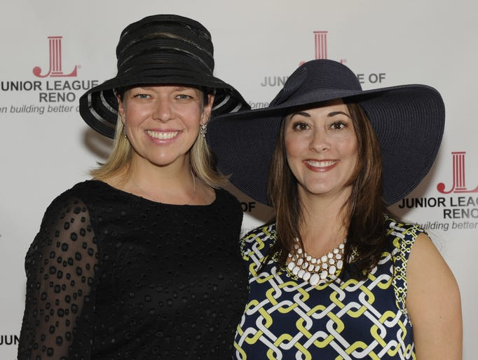 Jessica Anderson, left, and Nicole Lorenzi attend the Junior League of Reno's Third Annual Juleps, Jockeys & Jazz fundraiser Saturday May 3, 2014 at The Grove.