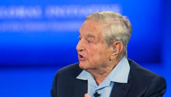 George Soros, Chairman of Soros Fund Management, talks during a television interview for CNN Sept. 27 at the Clinton Global Initiative in New York. Soros has gotten financially involved in some Mississippi elections.