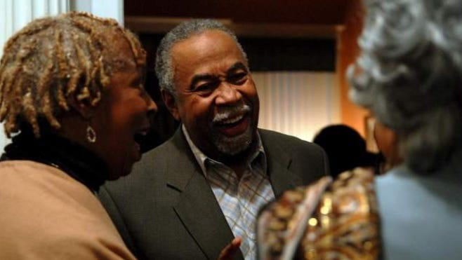 Yvonne Harvey, left, state Sen. Gerald Neal and former Sen. Georgia Powers share a laugh during the event.