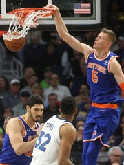 New York Knicks' Kristaps Porzingis (6), of Latvia,