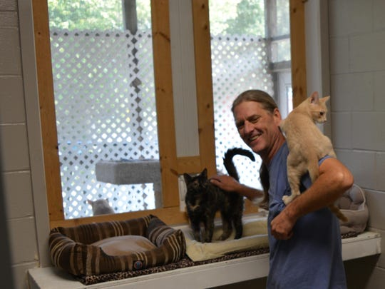 Patrick Campbell Priest takes care of cats at the Worcester County Humane Society's animal shelter.