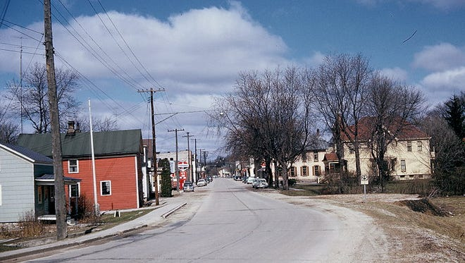 Downtown Mishicot as it appeared in spring 1954.