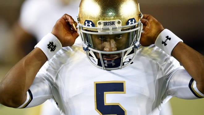 Notre Dame Fighting Irish quarterback Everett Golson (5) during pre game warmups before their game against the Florida State Seminoles at Doak Campbell Stadium.