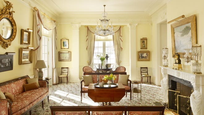The drawing room of Drumlin Hall, Dutchess County, New York, is an homage to the neoclassical rooms at Winterthur.