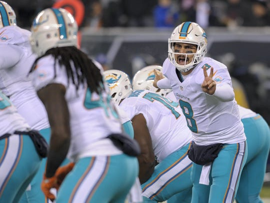 Miami Dolphins quarterback Matt Moore (8) calls an audible at the line of scrimmage against the New York Jets during the first quarter of an NFL football game, Saturday, Dec. 17, 2016, in East Rutherford, N.J. (AP Photo/Bill Kostroun)