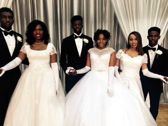 Devon Robinson, from left, Terica Linette Stephens, Jordan Ryan Reed, Simone Alyse Mae Golden, Rachel Olivia Patterson and Dylan Edward McGee were at the Links Cotillion.