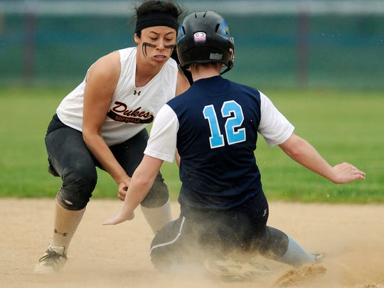Marlboro High School's Andrea Schoonmaker tags out Pine Plains' Kaitlin Croghan on Wednesday in Rhinebeck.