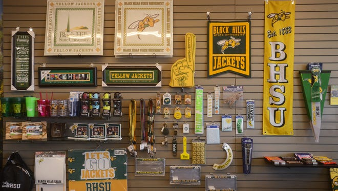 Apparel for sale at the Black Hills State University Jacket Zone store in Sioux Falls, Feb 23, 2016. The university is using the store as a branding and recruiting tool for the Spearfish campus.