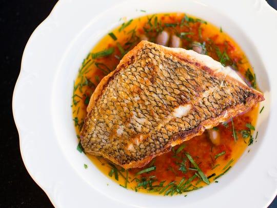 A black bass dish from Walnut Street Cafe in Philadelphia.