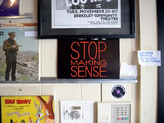 A Talking Heads 'Stop Making Sense' poster inside Inner