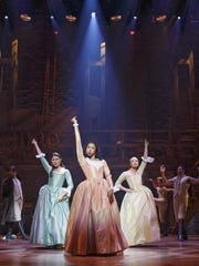 Phillipa Soo (left to right), Renee Elise Goldsberry