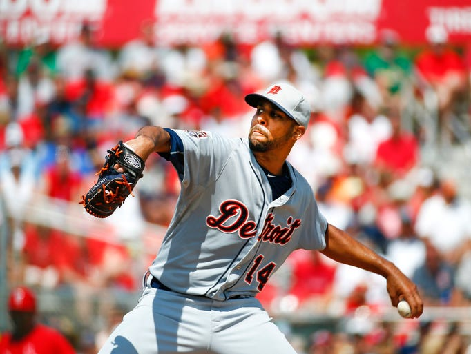 Tigers starting pitcher David Price works in the first