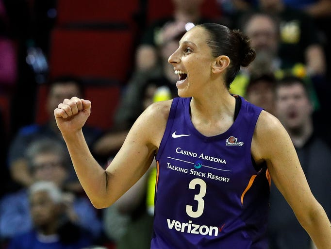Phoenix Mercury's Diana Taurasi reacts to a call in