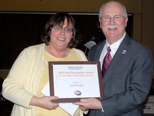 Staff Recognition Award recipient Jody Burdge and President